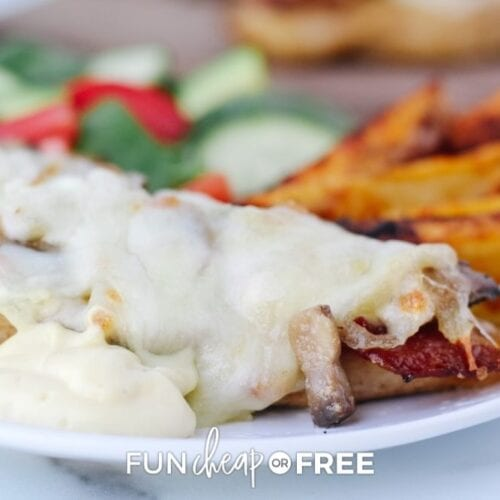 chicken breast with melted cheese and bacon on top, from Fun Cheap or Free