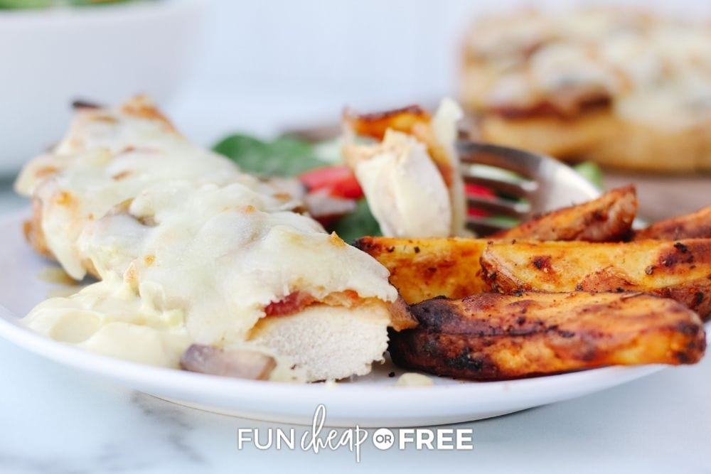 chicken with potato wedges and salad, from Fun Cheap or Free