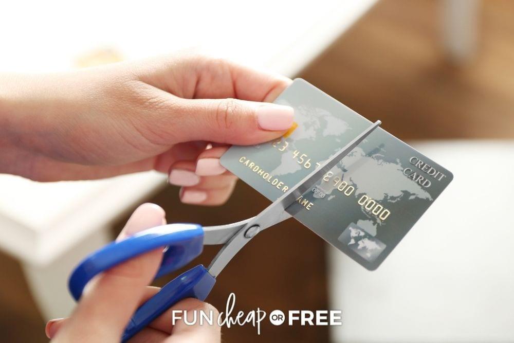 woman cutting credit card, from Fun Cheap or Free