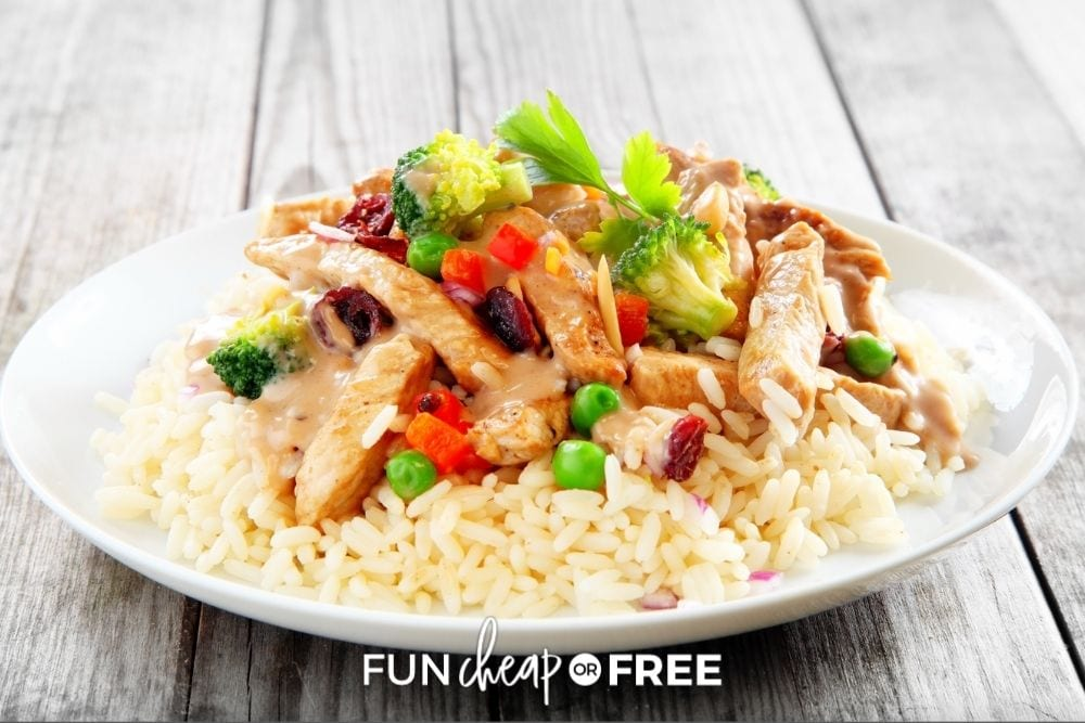 pork and veggie stir fry over rice, from Fun Cheap or Free