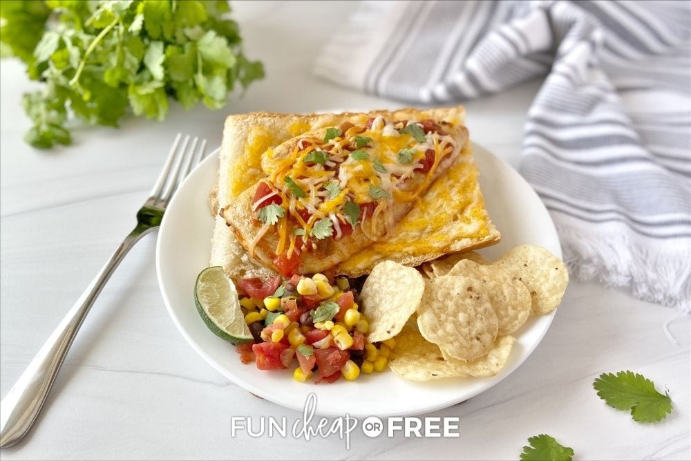 Mexican sandwich with chips and salsa, from Fun Cheap or Free