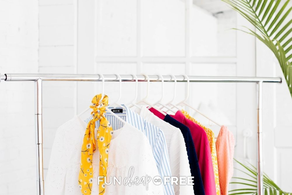 women's clothing on a rack, from Fun Cheap or Free