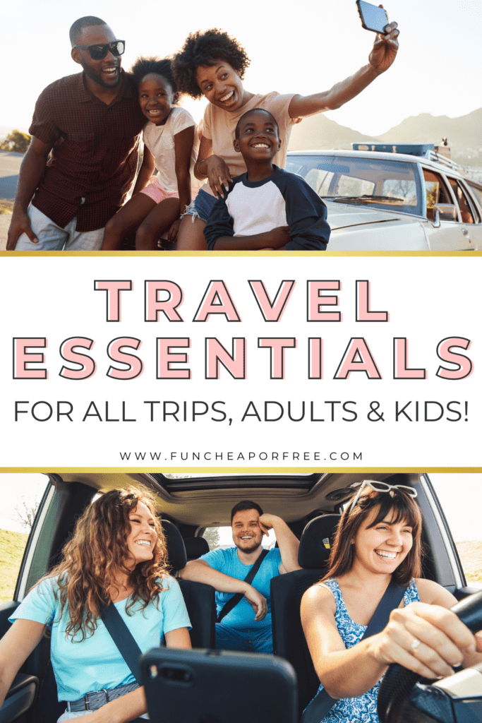 """Image with text that reads """"travel essentials"""" from Fun Cheap or Free"""