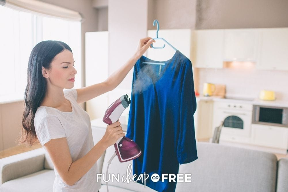 woman using travel clothing steamer in hotel, from Fun Cheap or Free