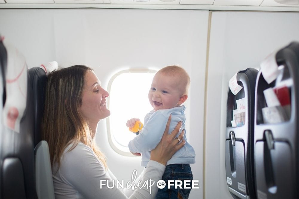 mom and baby on airplane, from Fun Cheap or Free