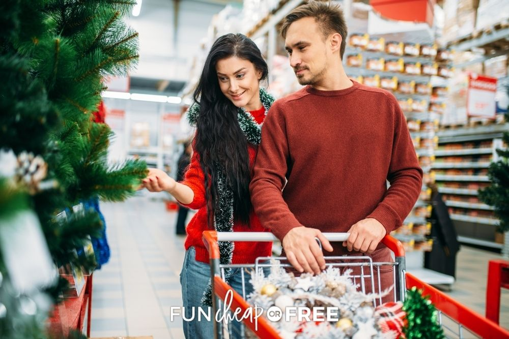 couple buying Christmas decorations on sale at Michales, from Fun Cheap or Free