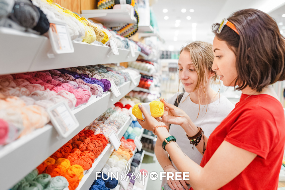 two women shopping for yarn at Michaels, from Fun Cheap or Free
