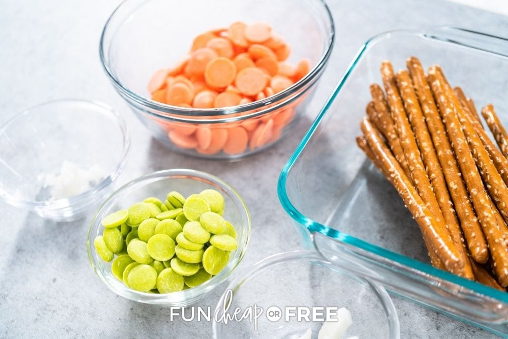 ingredients to make chocolate covered pretzel rods, from Fun Cheap or Free