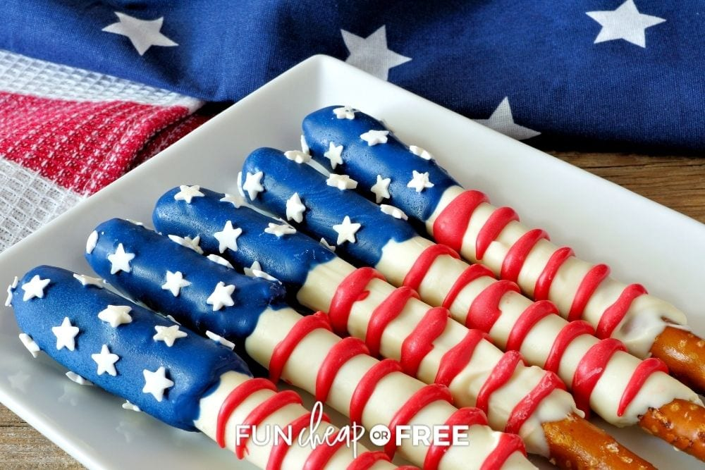 red, white, and blue flag pretzel rods, from Fun Cheap or Free