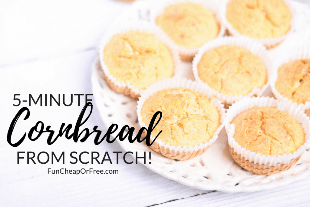5-minute Cornbread from scratch! It's sooo good, and so easy. I promise, you won't be disappointed. Enjoy! |FunCheapOrFree.com