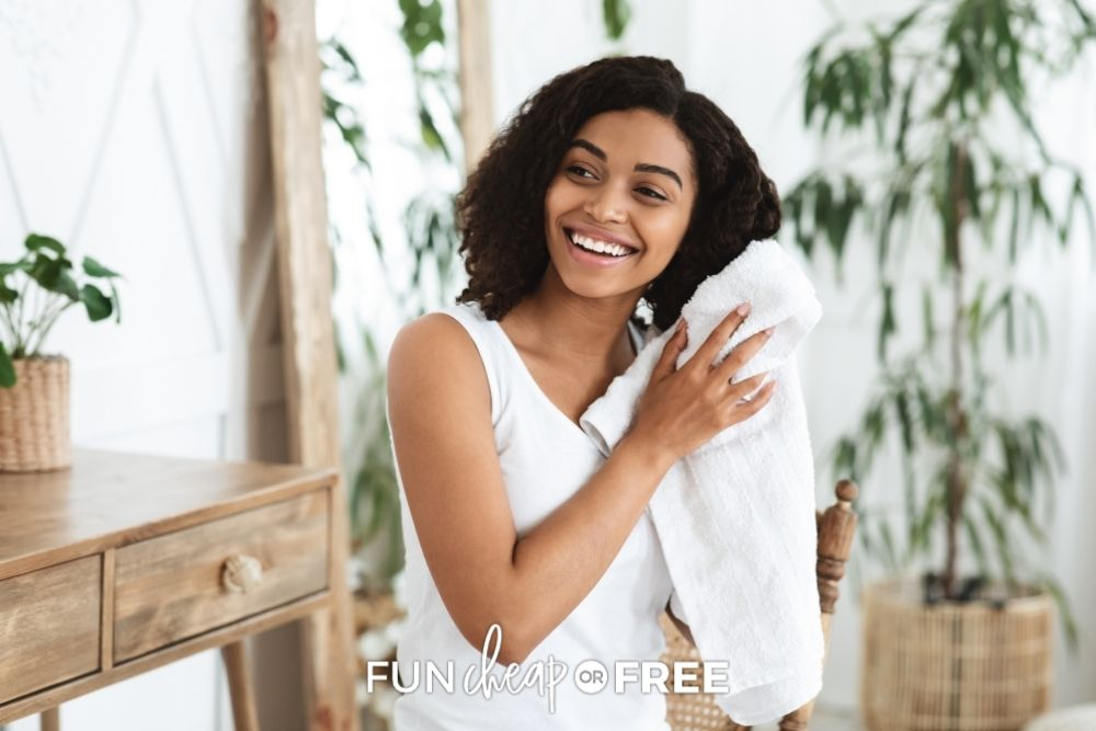 woman towel drying her hair, From Fun Cheap or Free