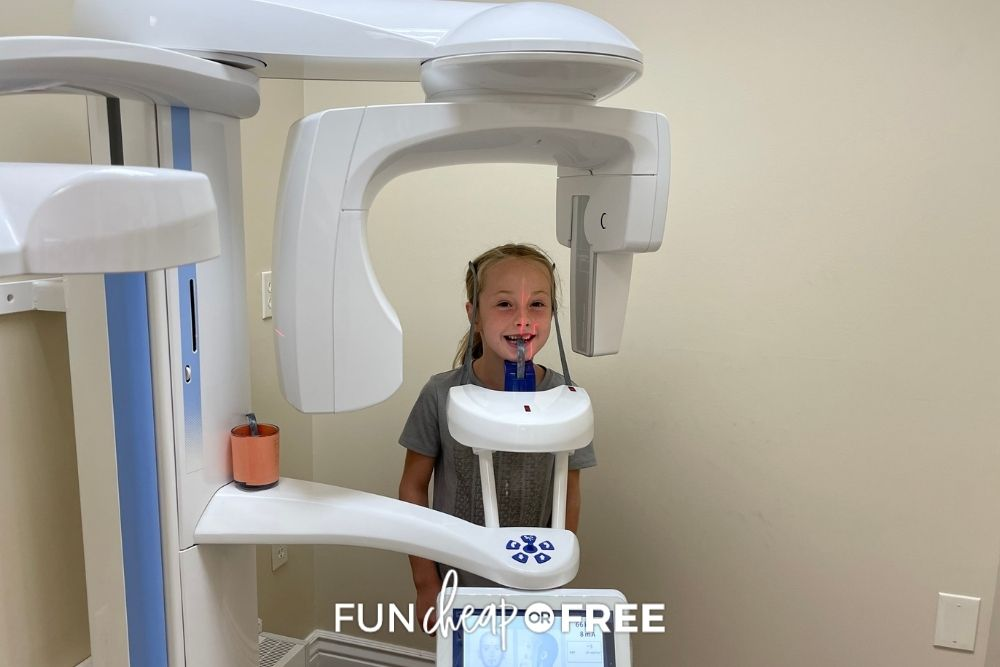 little girl getting x-rays at the dentist, from Fun Cheap or Free