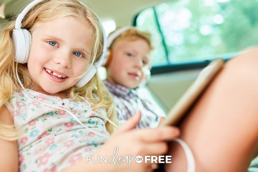 kids with iPad in backseat of car, from Fun Cheap or Free
