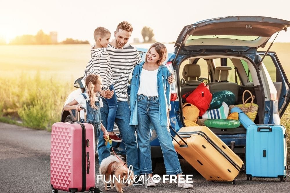 parents, kids, and dog on road trip, from Fun Cheap or Free