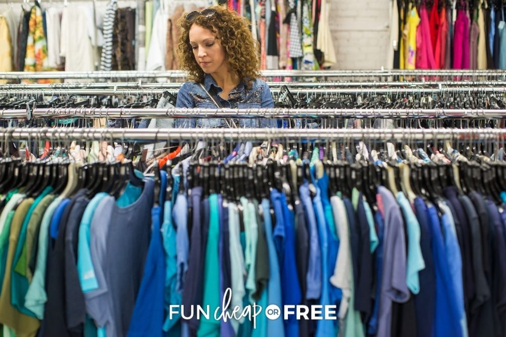 woman shopping at a thrift store, from Fun Cheap or Free