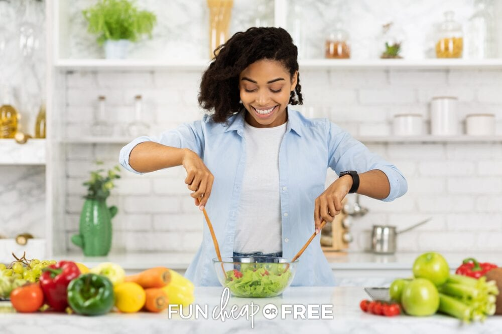 Young woman making a salad, from Fun Cheap or Free