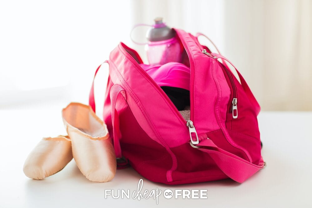 Dance bag and shoes on a counter, from Fun Cheap or Free
