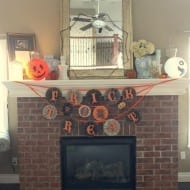 My cheap and easy Halloween mantel…plus, how to make a pinwheel ..