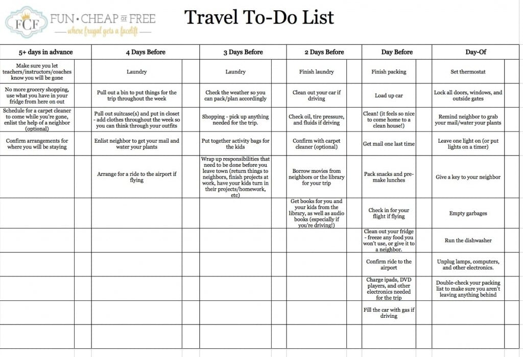 Travel To-Do List