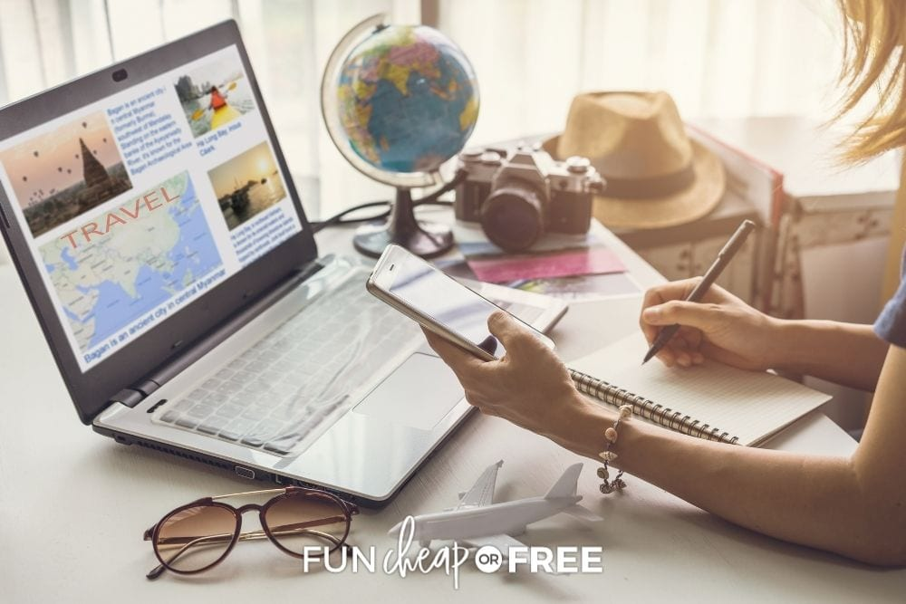 woman booking travel online, from Fun Cheap or Free