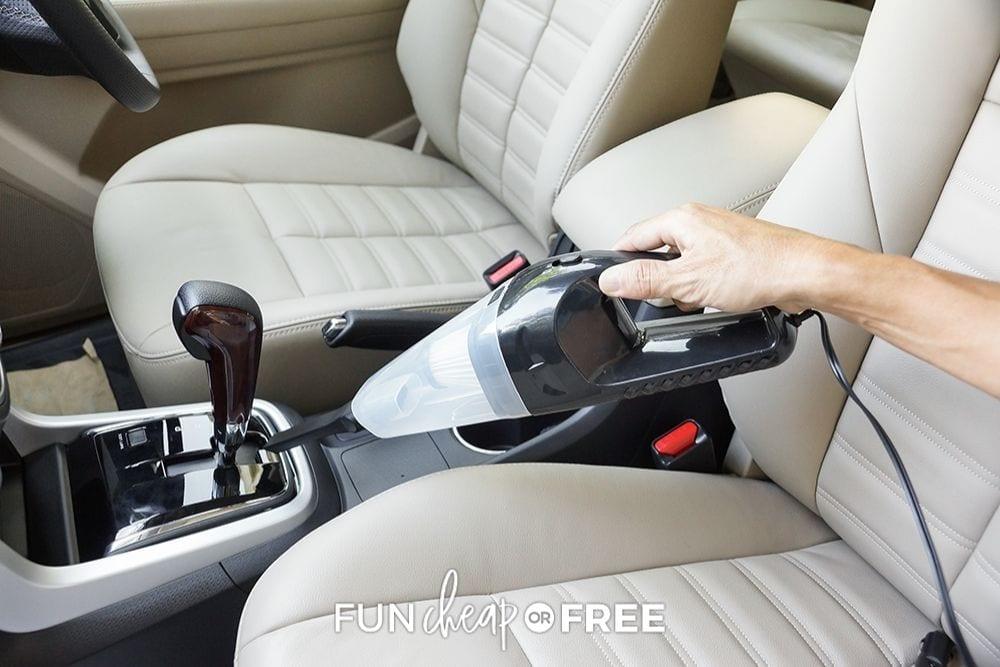 woman vacuuming car, from Fun Cheap or Free
