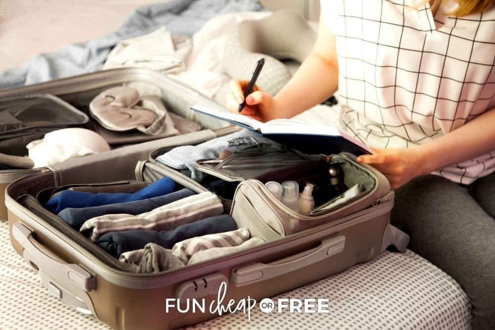 woman packing for a trip, from Fun Cheap or Free