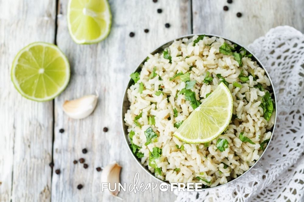 cilantro lime rice in a bowl, from Fun Cheap or Free