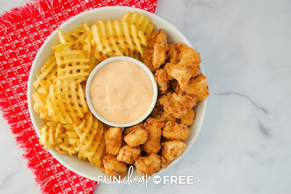 chick-fil-sauce with nuggets and fries, from Fun Cheap or Free