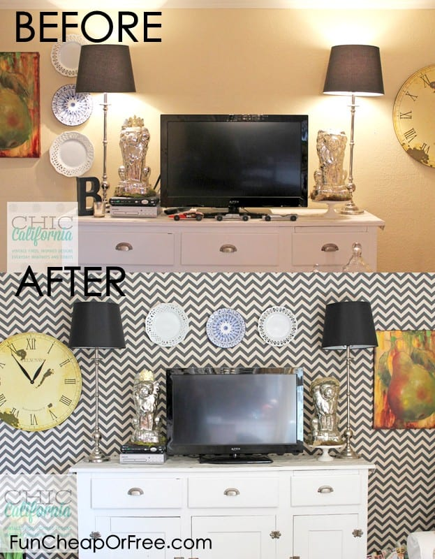 DIY faux wallpaper using starch & fabric