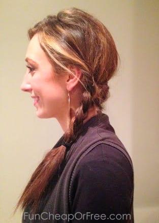 Easy twisted side-braid. Great lazy-day hair!