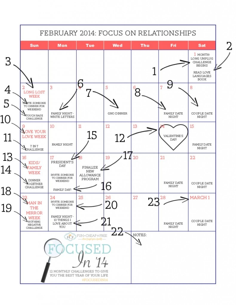 February Focus on Relationships Calendar marked up