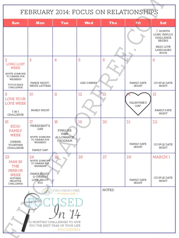 February Focus on Relationships Calendar watermark