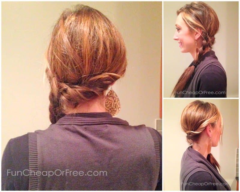 Easy twisted side braid - great lazy-day hair!