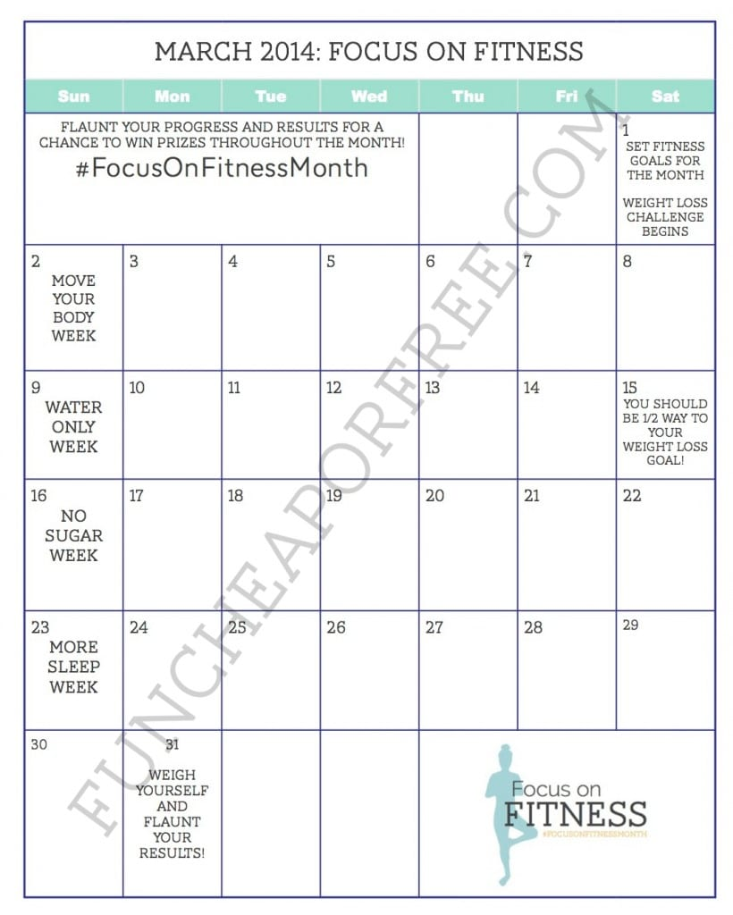 March - Focus on Fitness Calendar