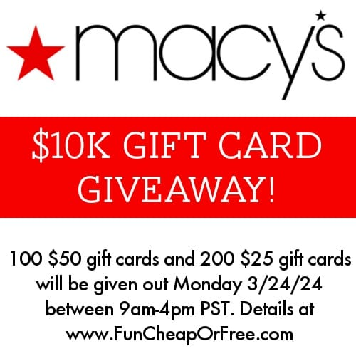 Huge Macy's giveaway, today only!