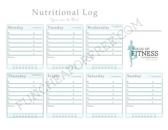 Nutrition Log - Free printable