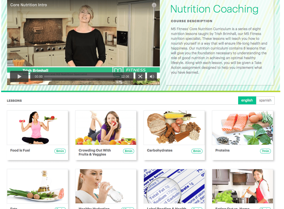 Website with every dozens of nutrition lessons and fitness plans