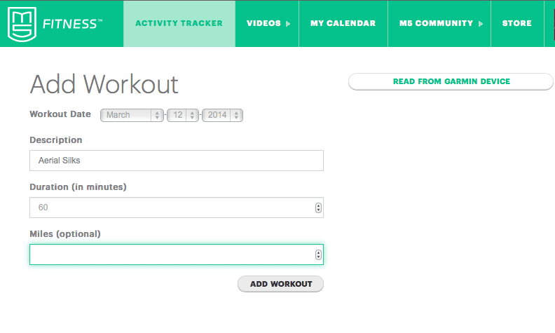Website where you can log your exercise and track goals