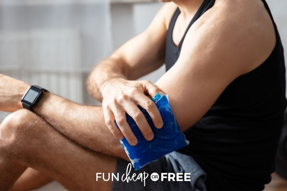man using a gel pack, from Fun Cheap or Free