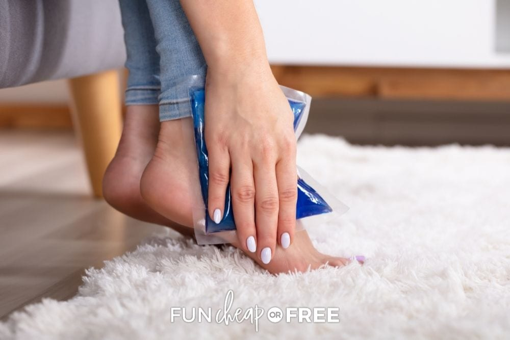 woman using gel ice pack on foot, from Fun Cheap or Free