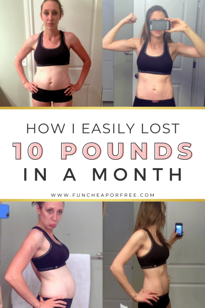 """Image with text that reads """"how I lost 10 pounds in a month"""" from Fun Cheap or Free"""