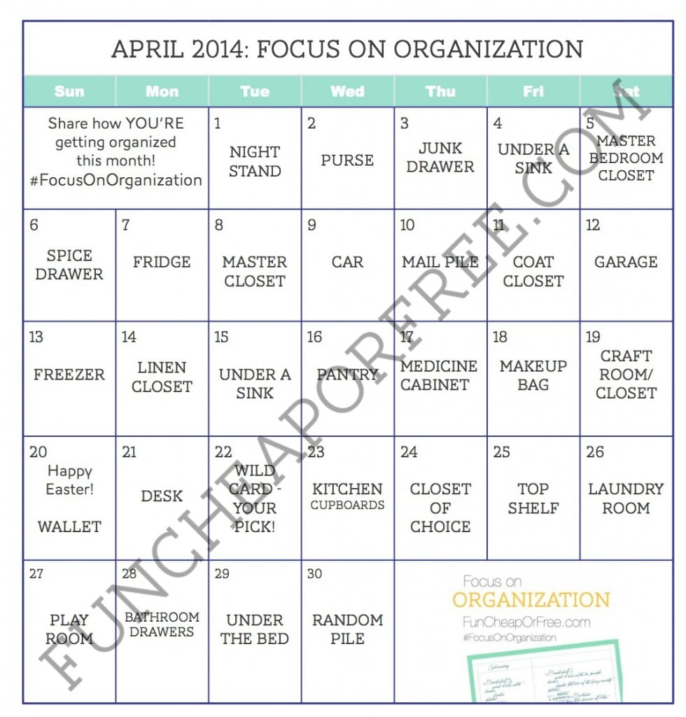 Organization Calendar Free : Month long organization challenge april focus on