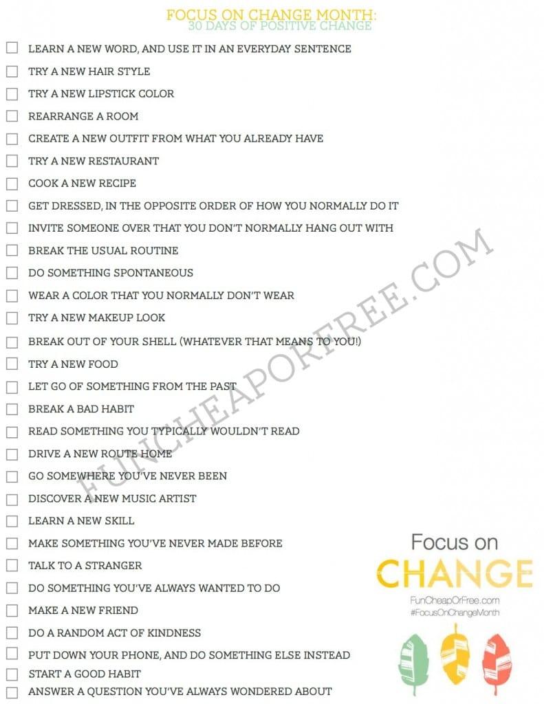 30 days of positive change challenge