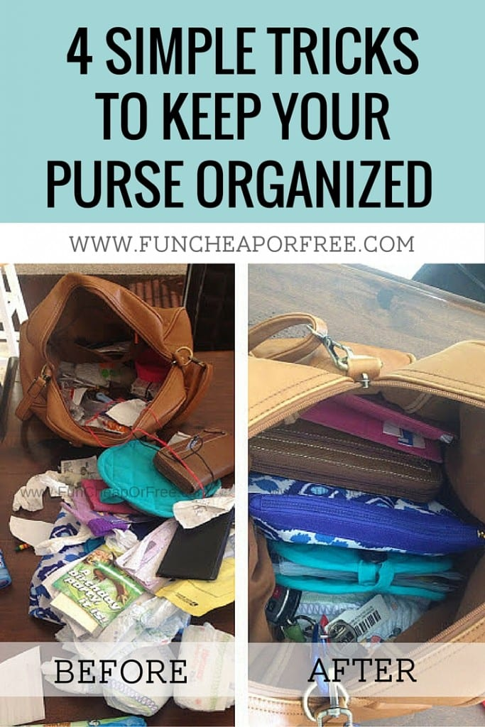 Tips for keeping your purse organized! No more floating receipts, chapsticks, punchcards or diapers -- you'll have the cleanest bag around! See how - www.FunCheapOrFree.com