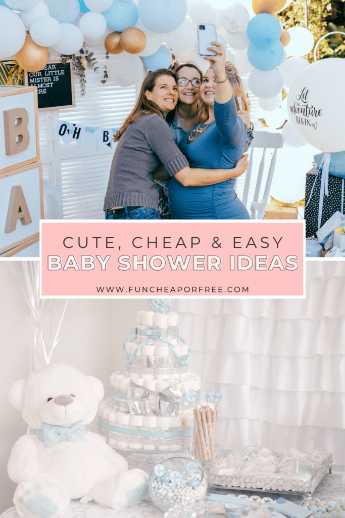 """Image with text that reads """"baby shower ideas"""" from Fun Cheap or Free"""