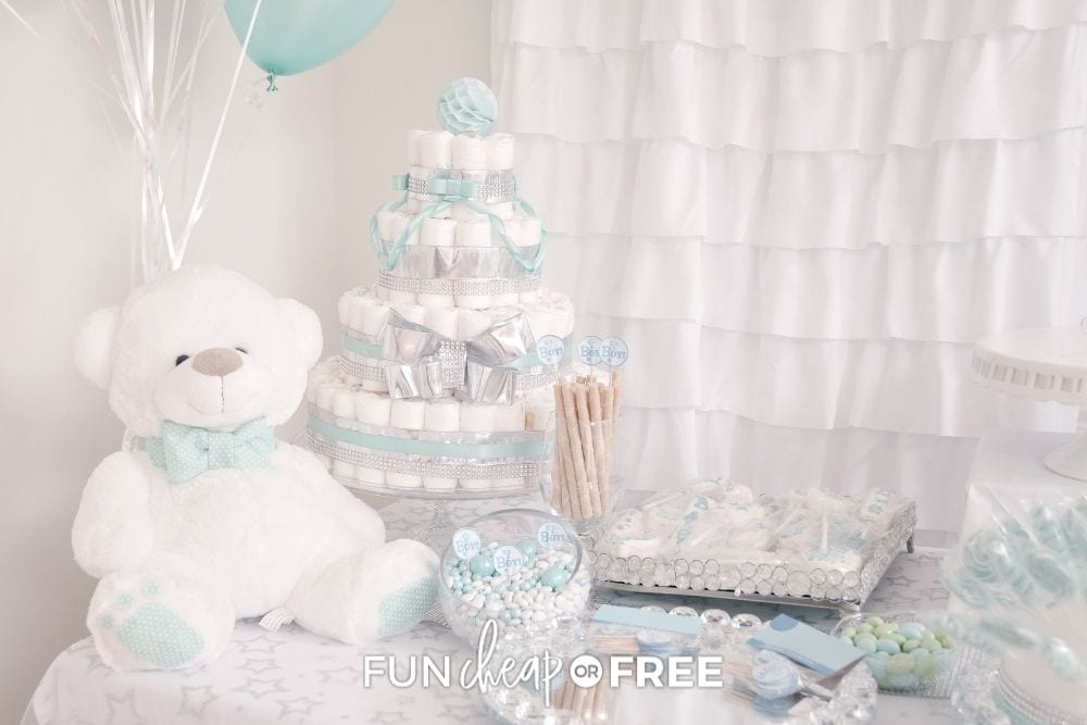 diaper cake and decorations at baby shower, from Fun Cheap or Free