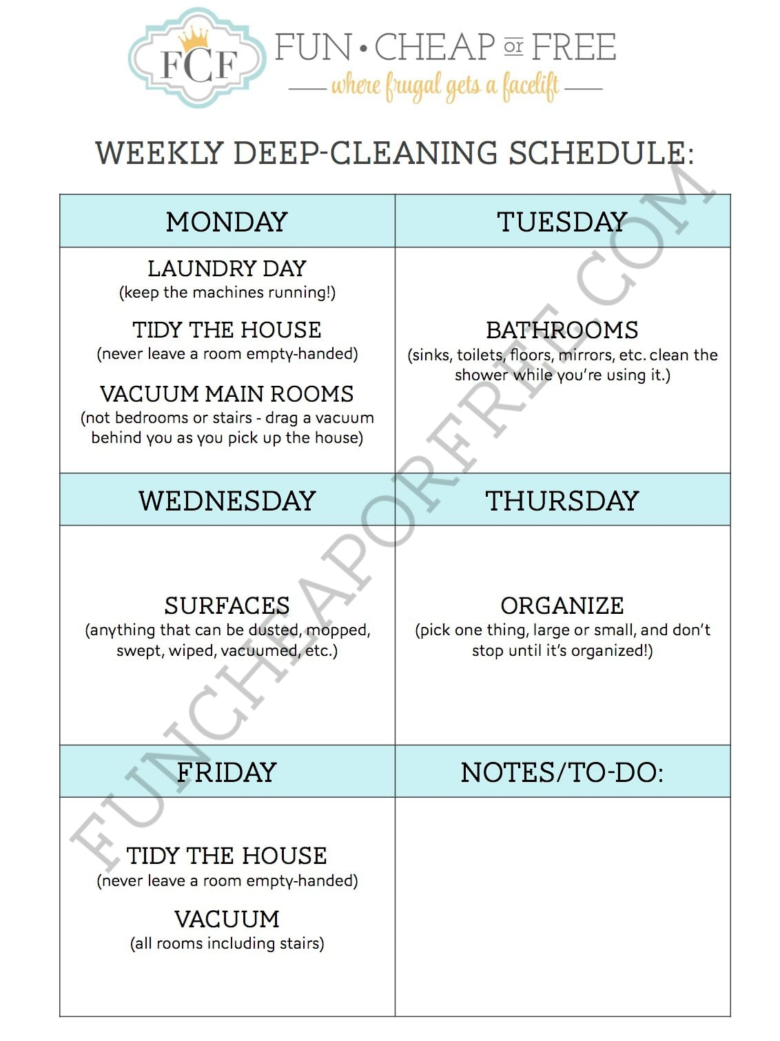 Deep Clean Your House With 1 Chore Per Day Fun Cheap Or Free
