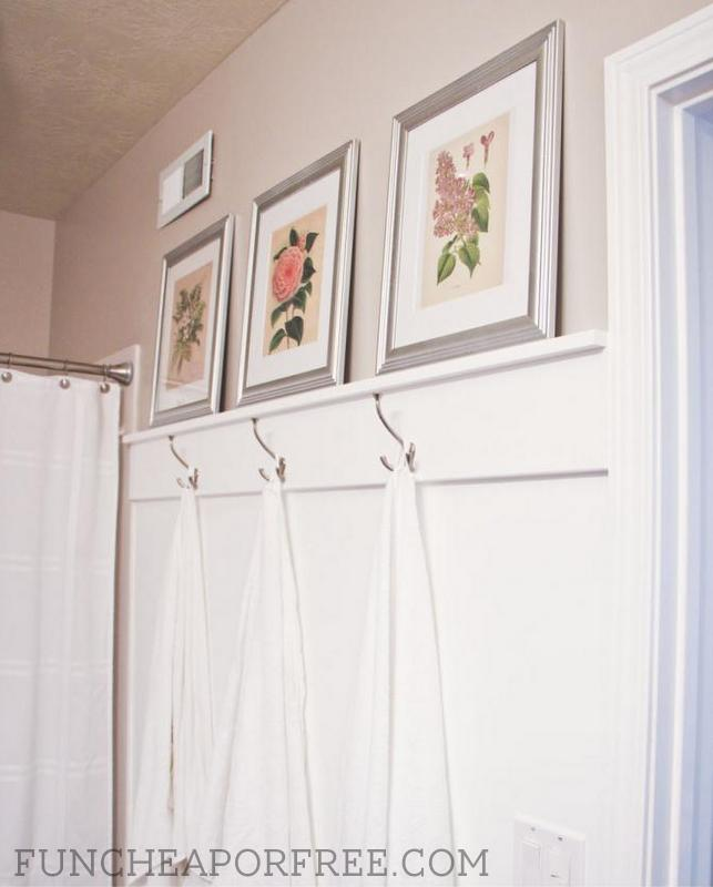 Diy easy bathroom moulding for towel hooks fun cheap or free