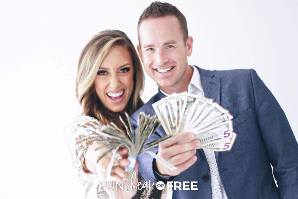 Jordan and Bubba holding money, from Fun Cheap or Free