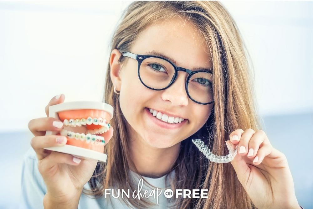 girl holding braces and invisalign, from Fun Cheap or Free